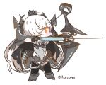 1girl abyssal_ship black_cape bow_(weapon) cape chibi colored_skin european_armored_aircraft_carrier_princess glowing glowing_eye hair_over_one_eye hi_ye holding holding_bow_(weapon) holding_weapon kantai_collection long_hair orange_eyes quiver solo standing syringe weapon white_hair white_skin
