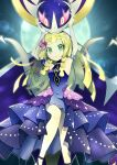 1girl arms_up bangs bare_shoulders blonde_hair braid breasts closed_mouth commentary_request dress elbow_gloves eyelashes flower frills gloves green_eyes hair_flower hair_ornament highres knees legendary_pokemon lens_flare lillie_(pokemon) long_hair looking_at_viewer lunala moon official_alternate_costume pokemon pokemon_(creature) pokemon_(game) pokemon_masters_ex red_flower rindoriko shoes smile twin_braids white_gloves
