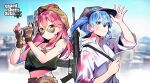 2girls ahoge arm_up assault_rifle bangs baseball_cap beret blue_eyes blue_hair blue_headwear breasts camouflage camouflage_gloves camouflage_headwear closed_mouth commentary_request crop_top eyebrows_visible_through_hair fingerless_gloves gloves grand_theft_auto grand_theft_auto_v green_eyes green_shirt gun hair_between_eyes hair_ornament hand_on_headwear hand_up handgun hands_up hat highres holding holding_gun holding_strap holding_weapon hololive hoshimachi_suisei jacket korean_commentary long_hair long_sleeves looking_at_viewer medium_breasts multiple_girls nail_polish nyshl paint_on_body paint_splatter paint_splatter_on_face red_nails redhead rifle sakura_miko shirt sling smile sunglasses twintails virtual_youtuber weapon weapon_on_back white_jacket x_hair_ornament