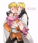 1girl 2boys ahoge arm_around_neck bandaged_hand bandages black_hair black_jacket black_pants blonde_hair blue_eyes boruto:_naruto_next_generations brother_and_sister clenched_teeth closed_eyes coat collared_jacket english_text eyebrows_visible_through_hair facial_mark father_and_daughter father_and_son grin hand_on_another's_arm happy high_collar holding hood hood_down hoodie hug hug_from_behind jacket layered_skirt light_blush looking_at_another looking_down messy_hair multiple_boys naruto_(series) open_clothes open_coat orange_jacket pants pink_footwear pink_hoodie shoes short_hair siblings simple_background skirt smile spiky_hair teeth toeless_footwear tsurime upper_teeth uzumaki_boruto uzumaki_himawari uzumaki_naruto v-shaped_eyebrows very_short_hair warable white_background white_coat white_skirt