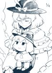 bangs black_headwear bow capelet chibi closed_eyes commentary_request daitai_konna_kanji dated dual_persona frilled_capelet frilled_ribbon frills greyscale hat hat_bow hat_ribbon long_sleeves medium_hair monochrome multiple_persona nagae_iku ribbon smile touhou upper_body white_background