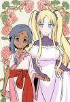 2girls blush couple dark-skinned_female dark_skin flower_flower holding_hands iwami_shouko multiple_girls nina_(flower_flower) official_art original shuurei_(flower_flower) smile twintails wife_and_wife yuri