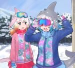 2girls blowhole blue_hair blue_jacket blue_neckwear blue_skirt blush chinese_white_dolphin_(kemono_friends) common_bottlenose_dolphin_(kemono_friends) dorsal_fin gloves goggles goggles_on_head grey_hair highres jacket kemono_friends kemono_friends_3 long_sleeves matching_outfit multicolored_hair multiple_girls official_alternate_costume orange_hair pink_hair pink_jacket pleated_skirt red_neckwear red_skirt rumenia_(ao2is) scarf short_twintails skirt twintails white_hair winter_clothes