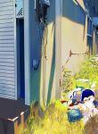 1girl absurdres bleeding blood blue_hair blue_skirt cape gloves grass highres lying magical_girl mahou_shoujo_madoka_magica miki_sayaka outdoors sate_(ryu_ryu_1212m) short_hair skirt solo