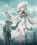 1boy 1girl backpack bag bangs bird black_choker blue_eyes breasts building capelet choker dress eyebrows_visible_through_hair flying gun highres holding holding_gun holding_weapon key_visual low_twintails official_art promotional_art sandals silver_hair sky small_breasts smile swav tsui_no_stella twintails weapon white_capelet white_dress