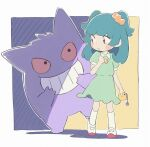1girl bangs blush_stickers border clenched_hand commentary_request dress gengar green_dress green_hair hand_up highres holding long_hair looking_back outline parted_lips pokemon pokemon_(anime) pokemon_(creature) poketoon shoes shoko_(pokemon) short_sleeves socks standing tied_hair violet_eyes white_border white_footwear white_legwear yutunmi
