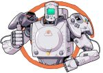 cable cameron_sewell clenched_hand controller english_commentary game_console highres joystick looking_at_viewer mecha mechanization no_humans original sega_dreamcast solo thumbs_up