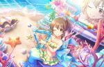 bikini blush brown_hair hori_yuuko idolmaster_cinderella_girls_starlight_stage long_hair red_eyes smile wink