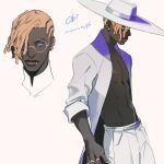 1boy apex_legends blue_eyes dark-skinned_male dark_skin glasses hairlocs hat highres iwamoto_zerogo multiple_views piercing seer_(apex_legends) white_background