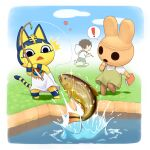! 1boy 2girls animal_crossing animal_ears ankha_(animal_crossing) balloon bangs black_eyes black_hair blue_sky blunt_bangs bob_cut book border breasts brown_dress cat_ears cat_girl cat_tail clouds coco_(animal_crossing) colored_skin dress egyptian egyptian_clothes fish furry furry_female gift goldfish grass hair_ornament haru_(haruhare3) holding holding_book multiple_girls open_mouth short_hair short_sleeves sky snake_hair_ornament spoken_exclamation_mark standing striped_tail tail villager_(animal_crossing) water white_border white_dress yellow_skin