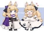 2girls :d animal_ear_fluff animal_ears arknights aunt_and_niece black_bow black_footwear black_gloves blemishine_(arknights) blonde_hair blue_background blush_stickers bow cape chibi clothes_lift dress dress_lift english_text eyebrows_visible_through_hair gloves hair_bow hair_ornament hairclip happy heart highres horse_ears horse_girl horse_tail lifted_by_self long_hair multiple_girls open_mouth ponytail purple_bow purple_cape shirt sidelocks simple_background smile someyaya striped striped_bow tail thick_eyebrows two-tone_background very_long_hair whislash_(arknights) whislash_(glory_purple)_(arknights) white_background white_dress white_shirt
