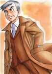 1boy bangs brown_coat brown_jacket brown_pants buttons closed_mouth coat collared_coat collared_shirt commentary_request from_below frown grey_eyes grey_hair grey_neckwear hands_in_pockets highres jacket looker_(pokemon) male_focus necktie oka_mochi open_clothes open_coat orange_background pants pokemon pokemon_(game) pokemon_dppt shirt short_hair solo traditional_media white_shirt