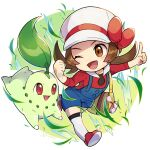 1girl ;d blue_overalls blush bow brown_eyes brown_hair cabbie_hat chibi chikorita commentary_request eyelashes hat hat_bow highres index_finger_raised leaves_in_wind long_hair lyra_(pokemon) one_eye_closed open_mouth peron_(niki2ki884) pokegear pokemon pokemon_(creature) pokemon_(game) pokemon_hgss red_bow red_footwear red_shirt shirt shoes smile thigh-highs tongue twintails white_headwear white_legwear yellow_bag