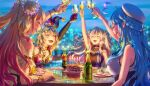 4girls absurdres ahoge alcohol animal_ears aomaru_kazumi bangs bare_shoulders birthday_cake black_nails blonde_hair blue_hair blurry blurry_background blush braid cake candle champagne champagne_bottle champagne_flute cityscape closed_eyes cup double_bun drinking_glass eyebrows_visible_through_hair flower food fox_ears fox_girl french_braid gloves gradient_hair grey_hair hair_between_eyes hair_flower hair_ornament hairclip hat heart_ahoge highres holding holding_cup hololive jester_cap lion_ears lion_girl long_hair momosuzu_nene multicolored_hair multiple_girls nepolabo night omaru_polka open_mouth orange_nails outstretched_arm pink_hair pointy_ears red_gloves shishiro_botan smile streaked_hair two_side_up virtual_youtuber white_headwear yukihana_lamy
