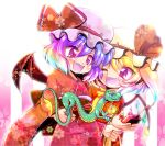 2girls :d alternate_costume bangs bat_wings blonde_hair commentary_request controller cowboy_shot crystal dragon eastern_dragon eyebrows_visible_through_hair fang flandre_scarlet floral_print hair_between_eyes hat hat_ribbon highres japanese_clothes kimono looking_at_another mob_cap multiple_girls one_eye_closed one_side_up open_mouth purple_hair red_eyes red_kimono red_ribbon remilia_scarlet remote_control ribbon short_hair siblings sisters smile tanono touhou wings yukata