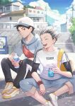 2boys akaashi_keiji antweiyi artist_name backpack bag baseball_cap black_hair black_pants blue_eyes blue_pants bokuto_koutarou bottle can closed_eyes closed_mouth clouds day gradient_hair haikyuu!! hat holding holding_bottle holding_can hood hood_down hoodie male_focus multicolored_hair multiple_boys on_floor open_mouth outdoors pants pants_rolled_up school_bag shirt shoes short_hair sitting sky smile soda_can teeth two-tone_hair watch watch white_hair white_shirt wristband