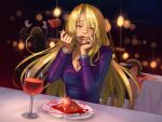 1boy 2girls alcohol blonde_hair blurry bracelet brown_hair chasing closed_eyes cup death depth_of_field dress drinking_glass eating evening_gown fleeing fork highres jewelry knife long_hair metroid metroid_fusion multiple_girls necklace plate purple_dress restaurant samus_aran smile stup-jam table tablecloth wine wine_glass x_parasite