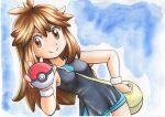 1girl bag bangs between_breasts black_dress blue_background blue_shorts breasts brown_eyes brown_hair closed_mouth commentary_request dress eyelashes green_(pokemon) hair_flaps hand_on_hip hand_up highres holding holding_poke_ball long_hair messenger_bag oka_mochi poke_ball poke_ball_(basic) pokemon pokemon_(game) pokemon_lgpe short_dress shorts shoulder_bag sidelocks sleeveless sleeveless_dress smile solo split_mouth strap_between_breasts traditional_media white_wristband wristband yellow_bag
