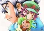 1boy 1girl alain_(pokemon) bangs black_hair blue_eyes blue_scarf brown_eyes chespin closed_mouth commentary_request eyebrows_visible_through_hair eyelashes frown green_headwear hat highres holding holding_pokemon mairin_(pokemon) oka_mochi parted_lips pokemon pokemon_(anime) pokemon_(creature) pokemon_xy_(anime) purple_hair scarf short_hair smile split_mouth traditional_media white_background yellow_scarf