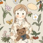 1girl blush braid brown_hair bug butterfly collared_shirt expressionless flower leaf long_hair long_sleeves looking_at_viewer original pink_flower plant print_shirt purple_flower shirt solo stuffed_animal stuffed_toy teddy_bear twin_braids upper_body white_flower yellow_butterfly yoovora