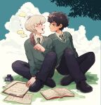 2boys albus_severus_potter amazou black_hair blonde_hair blue_eyes book eye_contact green_eyes harry_potter harry_potter:_the_cursed_child highres hogwarts_school_uniform holding_quill ink_bottle inkwell looking_at_another multiple_boys necktie paper quill school_uniform scorpius_malfoy short_hair sitting slytherin smile