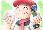 1boy :t black_hair bracelet closed_eyes closed_mouth commentary_request diamond_(pokemon) food food_on_face green_background hands_up hat highres holding jacket jewelry male_focus oka_mochi onigiri pokemon pokemon_adventures red_headwear rice rice_on_face scarf short_hair short_sleeves smile solo traditional_media upper_body