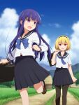2girls :d bangs black_hairband black_legwear black_sailor_collar black_skirt blonde_hair blue_bow blue_neckwear blue_sky blunt_bangs bow briefcase brown_footwear clouds cloudy_sky commentary day eyebrows_visible_through_hair fang feet_out_of_frame foot_out_of_frame furude_rika grass hairband happy highres higurashi_no_naku_koro_ni holding holding_briefcase houjou_satoko house leg_up light_blush loafers long_hair long_sleeves looking_at_another looking_back mashita_(candy_apricot) mountain multiple_girls neckerchief open_mouth outdoors pantyhose pleated_skirt purple_hair road sailor_collar school_briefcase school_uniform serafuku shirt shoes short_hair short_sleeves skin_fang skirt sky smile socks standing tree violet_eyes walking white_legwear white_shirt