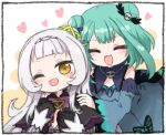 2girls :3 ;d ^_^ blue_dress blush border chibi closed_eyes detached_sleeves dress hands_on_another's_shoulders hololive hug hug_from_behind multiple_girls murasaki_shion one_eye_closed open_mouth smile tonton_(tonz159) uruha_rushia