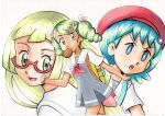 3girls :o bangs blonde_hair blue_eyes bright_pupils commentary_request dress eyelashes food food_in_mouth freckles green_eyes green_hair grey_dress hair_ornament hat highres lana_(pokemon) lillie_(pokemon) long_hair mallow_(pokemon) mouth_hold multiple_girls oka_mochi open_mouth pokemon pokemon_(anime) pokemon_sm_(anime) red_headwear semi-rimless_eyewear shirt short_sleeves smile strap toast toast_in_mouth tongue traditional_media twintails white_pupils white_shirt