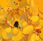1girl absurdres black_hair cup from_behind highres long_hair minigirl original rubber_duck sate_(ryu_ryu_1212m) shadow solo yellow_theme