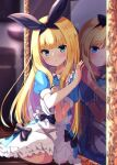 1girl apron baram black_bow black_ribbon blonde_hair blue_dress blue_eyes blurry blurry_background bow closed_mouth commentary_request depth_of_field different_reflection dress frilled_apron frills green_eyes hair_bow hair_ribbon hand_up highres indoors long_hair mirror mononobe_alice nijisanji parted_lips puffy_short_sleeves puffy_sleeves reflection ribbon short_sleeves very_long_hair virtual_youtuber white_apron