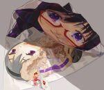 1girl absurdres akemi_homura bow food highres kaname_madoka kyubey mahou_shoujo_madoka_magica pink_eyes red-framed_eyewear red_bow sate_(ryu_ryu_1212m) semi-rimless_eyewear shadow smile under-rim_eyewear violet_eyes