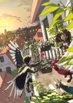 1boy 1girl :o absurdres artist_name balcony black_feathers black_hair boots brown_hair brown_shirt city closed_eyes dutch_angle english_commentary feathered_wings flower_box highres huge_filesize lico_(sasya_k) long_hair looking_at_another original outdoors shirt sunset tree wings