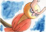 alternate_color beak bird blue_background closed_mouth commentary_request highres looking_back no_humans noctowl oka_mochi orange_eyes owl pokemon pokemon_(creature) shiny_pokemon solo traditional_media
