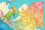 1boy artist_name belt bird blonde_hair blue_eyes blue_sky boots dog dutch_angle flower fox ghost green_headwear hair_flower hair_ornament highres kaepora_gaebora lico_(sasya_k) link long_sleeves marin_(the_legend_of_zelda) mushroom outdoors owl pointy_ears raft seagull sidelocks sky tarin the_legend_of_zelda the_legend_of_zelda:_link's_awakening wind_fish windfish's_egg