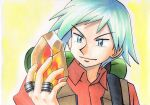 1boy backpack bag bangs blue_eyes blue_hair brown_vest closed_mouth collared_shirt commentary_request hand_up highres holding jewelry looking_at_object male_focus oka_mochi orange_shirt pokemon pokemon_(anime) pokemon_rse_(anime) ring shirt short_hair smile solo spiky_hair steven_stone stone strap traditional_media upper_body vest yellow_background