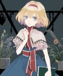 1girl alice_margatroid arm_up blonde_hair blue_dress blue_eyes book capelet dress expressionless flower_pot hair_between_eyes hairband highres holding holding_book looking_at_viewer nanasuou neck_ribbon puffy_short_sleeves puffy_sleeves red_hairband red_ribbon ribbon short_hair short_sleeves solo touhou white_capelet