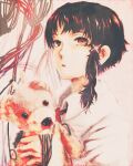 1girl asymmetrical_hair bangs brown_hair collared_shirt gorilla(1844~) hair_ornament hairclip highres holding holding_stuffed_toy iwakura_lain long_sleeves parted_lips red_eyes red_neckwear serial_experiments_lain shirt short_hair solo stuffed_animal stuffed_toy teddy_bear upper_body white_shirt