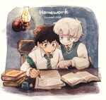 2boys albus_severus_potter amazou black_hair blonde_hair blue_eyes book chair green_eyes harry_potter harry_potter:_the_cursed_child hogwarts_school_uniform holding_quill ink_bottle inkwell multiple_boys necktie open_book quill school_uniform scorpius_malfoy short_hair slytherin smile striped striped_neckwear vest writing