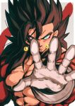 absurdres bare_pectorals biceps blue_eyes dragon_ball dragon_ball_heroes earrings gloves highres jewelry looking_at_viewer monkey_boy monkey_tail no_nipples outstretched_arms pectorals potara_earrings reaching_out red_fur relio_db318 solo spiky_hair super_saiyan super_saiyan_4 tail vegetto vegetto_(xeno) white_gloves