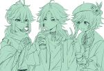 3boys absurdres ahoge alternate_costume antenna_hair bandaged_hand bandages bangs braid closed_mouth cup eyebrows_visible_through_hair facial_mark flower forehead_mark genshin_impact green_theme hat hat_flower highres holding holding_cup index_finger_raised jacket japanese_clothes jewelry kaedehara_kazuha male_focus monochrome multiple_boys necklace open_mouth ponytail ryu_genshin77 side_braids simple_background venti_(genshin_impact) xiao_(genshin_impact)