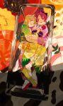 2girls absurdres blonde_hair food highres japanese_clothes kimono leaf mahou_shoujo_madoka_magica multiple_girls parted_lips print_kimono redhead sakura_kyouko sandals sate_(ryu_ryu_1212m) smile socks tomoe_mami white_legwear