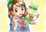 1girl :d bangs bob_cut brown_eyes brown_hair buttons cable_knit cardigan collarbone collared_dress commentary_request dress eyelashes gloria_(pokemon) green_headwear grey_cardigan grookey hand_up hat highres holding holding_poke_ball hooded_cardigan looking_at_viewer oka_mochi on_shoulder open_mouth pink_dress poke_ball poke_ball_(basic) pokemon pokemon_(creature) pokemon_(game) pokemon_on_shoulder pokemon_swsh short_hair smile tam_o'_shanter tongue traditional_media upper_body yellow_background