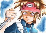 1boy bangs blake_(pokemon) blue_background blue_jacket bodysuit brown_hair chain closed_mouth commentary_request frown furrowed_brow hand_up high_collar highres holding holding_chain jacket looking_down male_focus oka_mochi parted_bangs pink_headwear pokemon pokemon_adventures short_hair solo strap traditional_media upper_body v-shaped_eyebrows violet_eyes visor_cap