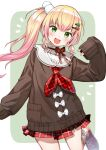1girl :d ascot blonde_hair bow cardigan eyebrows_visible_through_hair fang frills green_eyes hair_ornament hairclip highres hololive long_hair miniskirt momosuzu_nene nishizawa open_mouth oversized_clothes plaid plaid_skirt ribbon side_ponytail skirt sleeves_past_wrists smile solo virtual_youtuber