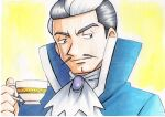 1boy blue_coat blue_eyes closed_mouth coat commentary_request cup facial_hair grey_hair hand_up high_collar highres holding holding_cup jabot juan_(pokemon) looking_to_the_side male_focus mustache oka_mochi pokemon pokemon_(game) pokemon_emerald pokemon_rse short_hair smile solo teacup traditional_media upper_body white_hair white_neckwear