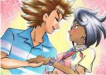 1boy 1girl bangs blue_shirt blush brock_(pokemon) brown_hair closed_eyes collared_shirt commentary_request dark-skinned_female dark_skin earrings eyelashes from_side grey_hair hetero highres holding_hands jewelry lipstick makeup necklace oka_mochi olivia_(pokemon) open_mouth pink_lips pokemon pokemon_(anime) pokemon_sm_(anime) shirt short_hair short_sleeves smile spiky_hair tongue traditional_media upper_body