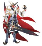 1boy absurdres armor cape catball1994 from_side full_armor highres holding holding_sword holding_weapon horns kamen_rider kamen_rider_saber_(series) kamen_rider_solomon looking_ahead red_eyes redesign single_horn solo sword tokusatsu weapon white_background