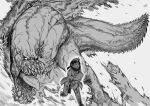 1girl 1other absurdres blood breasts constricted_pupils destruction deviljho dragon english_commentary fleeing greyscale highres holding_own_arm imminent_death injury jaw krekk0v large_breasts monochrome monster monster_hunter_(series) no_pupils open_mouth scar scared size_difference spikes tail teeth tongue wyvern