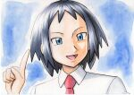 1boy :d bangs black_hair blue_background blue_eyes cheren_(pokemon) collared_shirt commentary_request hand_up highres male_focus necktie oka_mochi open_mouth pokemon pokemon_(game) pokemon_bw2 red_neckwear shirt short_hair smile solo tongue traditional_media white_shirt